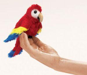 folkmanis Mini Macaw Scarlet puppet