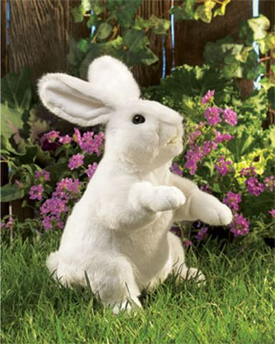 folkmanis Rabbit Standing White puppet